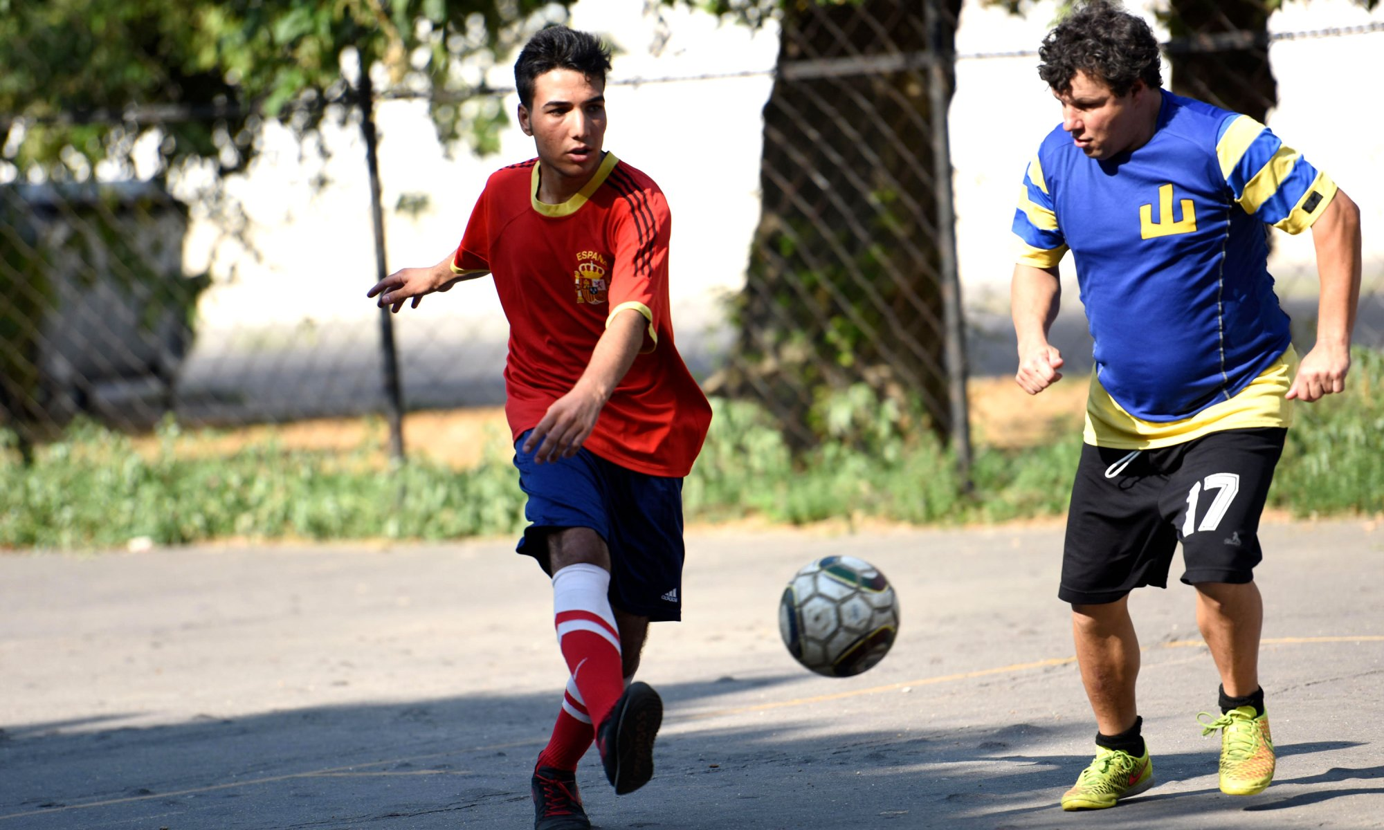 Refugees playing football