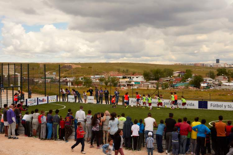 Football community pitch in Cañada Real, Madrid