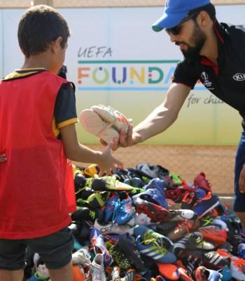 The UEFA Europa League Trophy Tour 2020 driven by Kia to Zaatari refugee camp
