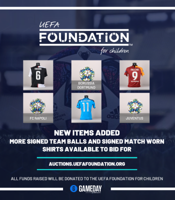 Auction: official signed shirts and footballs from UEFA Champions League and UEFA Europa League